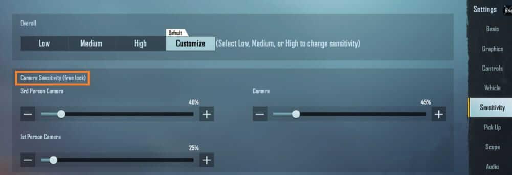 Camera Sensitivity Settings (Free look)