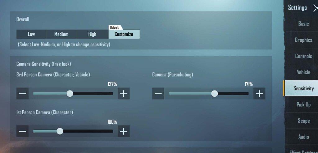 Camera Sensitivity (Free look)