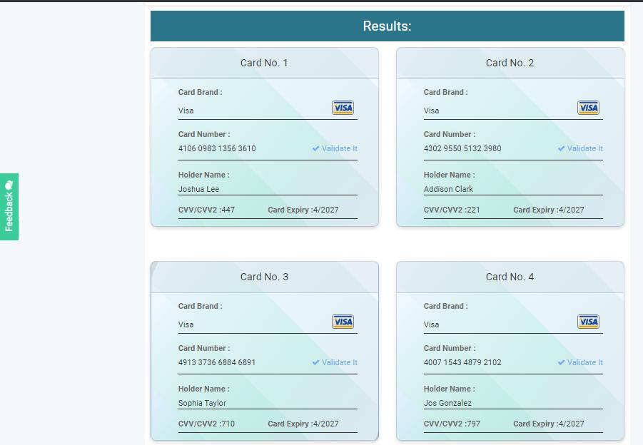 Generate Credit Cards in Bulk Quantity