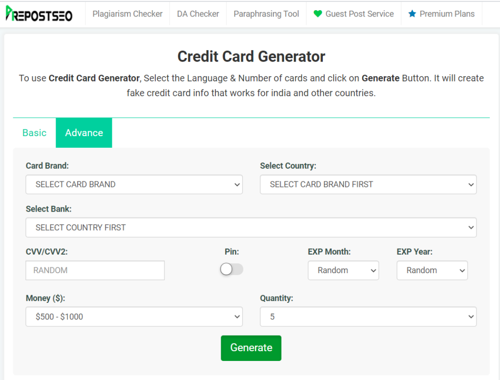 Prepostseo Card Generator